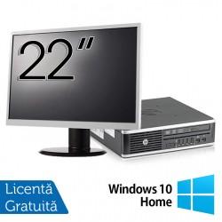 Pachet Calculator HP 8300 USDT, Intel Core i3-3220 3.30GHz, 4GB DDR3, 500GB SATA, DVD-RW + Monitor 22 Inch + Windows 10 Home - ShopTei.ro