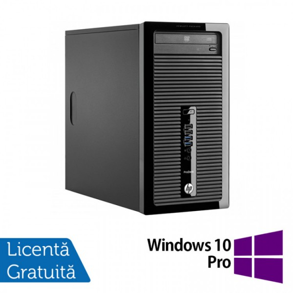 Calculator HP 400 G2 Tower, Intel Core i3-4130 3.40GHz, 4GB DDR3, 120GB SSD, DVD-RW + Windows 10 Pro - ShopTei.ro