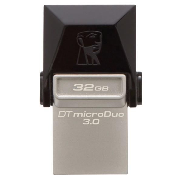 Memorie USB 3.0, microUSB 3.0 KINGSTON 32 GB, Profil mic,  OTG, Argintiu & negru, Carcasa metal & plastic - ShopTei.ro
