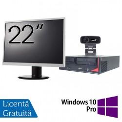 Pachet Calculator Fujitsu E410, Intel Core i3-3220 3.30GHz, 4GB DDR3, 500GB SATA + Monitor 22Inch + Webcam + Tastatura si Mouse + Windows 10 Pro - ShopTei.ro