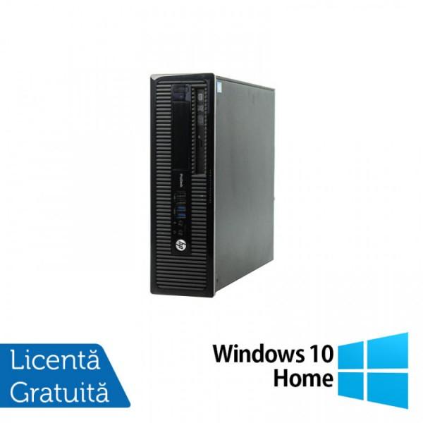 Calculator HP 400 G1 SFF, Intel Core i3-4130 3.40GHz, 4GB DDR3, 500GB SATA, DVD-RW + Windows 10 Home - ShopTei.ro