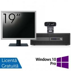 Pachet Calculator HP 800 G2 SFF, Intel Core i5-6500 3.20GHz, 8GB DDR4, 240GB SSD + Monitor 19 Inch + Webcam + Tastatura si Mouse + Windows 10 Pro - ShopTei.ro