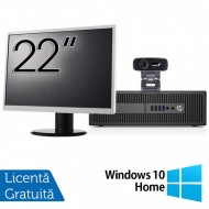 Pachet Calculator HP 800 G2 SFF, Intel Core i5-6500 3.20GHz, 8GB DDR4, 240GB SSD + Monitor 22 Inch + Webcam + Tastatura si Mouse + Windows 10 Home