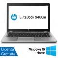 Laptop HP EliteBook Folio 9480m, Intel Core i7-4600U 2.10GHz, 8GB DDR3, 240GB SSD, 14 Inch, Webcam + Windows 10 Home