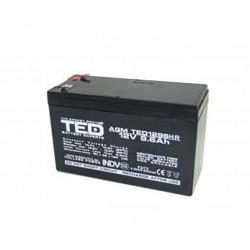 Acumulator stationar VRLA AGM 12V, 9.6 Ah, F2/ T2, TED Electric, Etans, UPS, Back-UP - ShopTei.ro