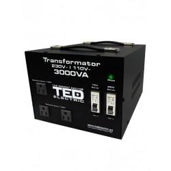 Transformator 230-220v La 110-115v 3000va/2400w Cu Carcasa Ted110-2400w Ted Electric - ShopTei.ro