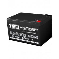 Acumulator Stationar 12v 12,5ah F2 Agm Vrla Ted Electric - ShopTei.ro