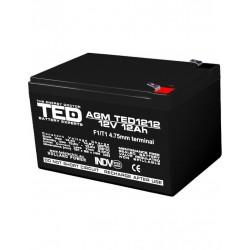 Acumulator Stationar 12v 12ah F1 Agm Vrla Ted Electric - ShopTei.ro